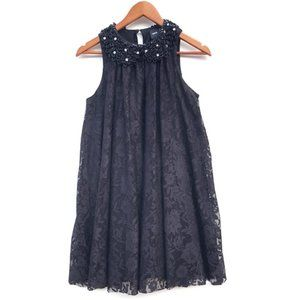 ASOS Black Lace Dress Beaded Collar Size 4